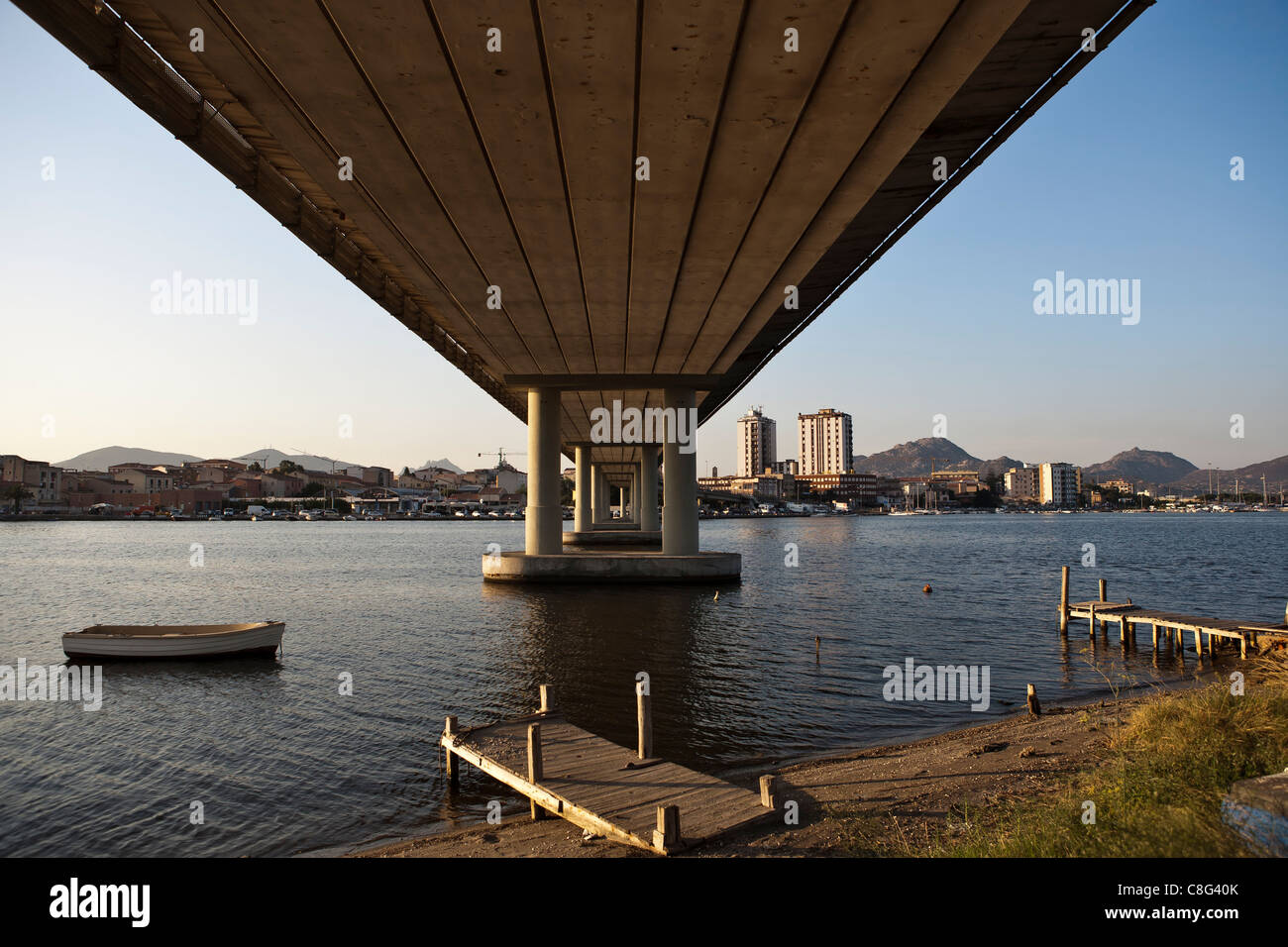 View under the bridge to Olbia, Sardinia, Italy, Europe - Stock Image