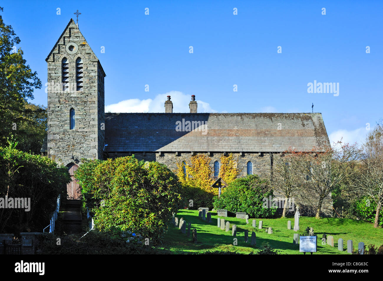 Church of the Sacred Heart. Coniston, Lake District National Park, Cumbria, England, United Kingdom, Europe. Stock Photo