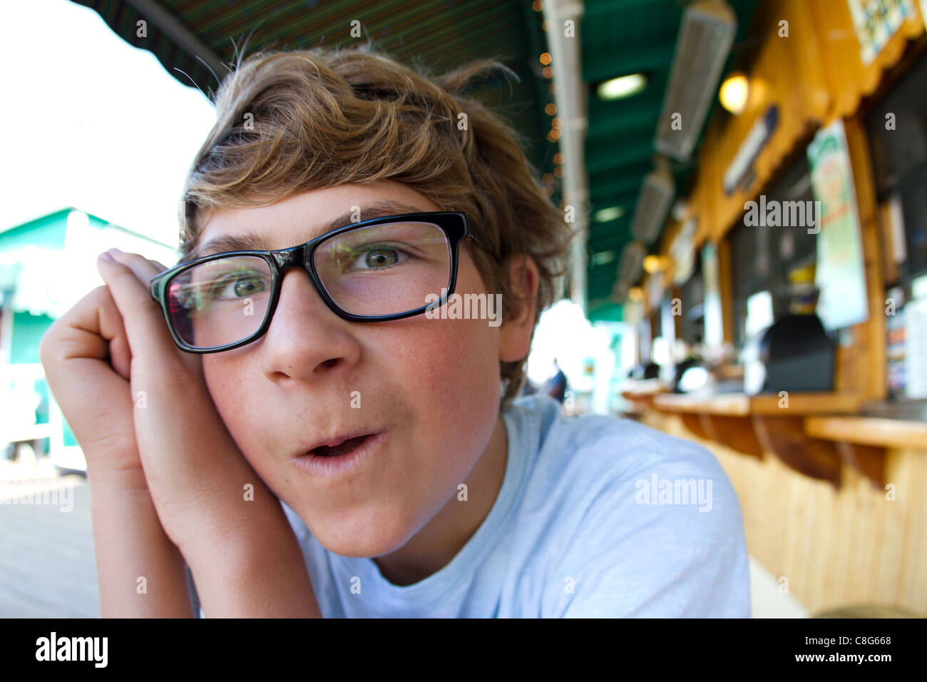 Happy Teenager on the Pier - Stock Image