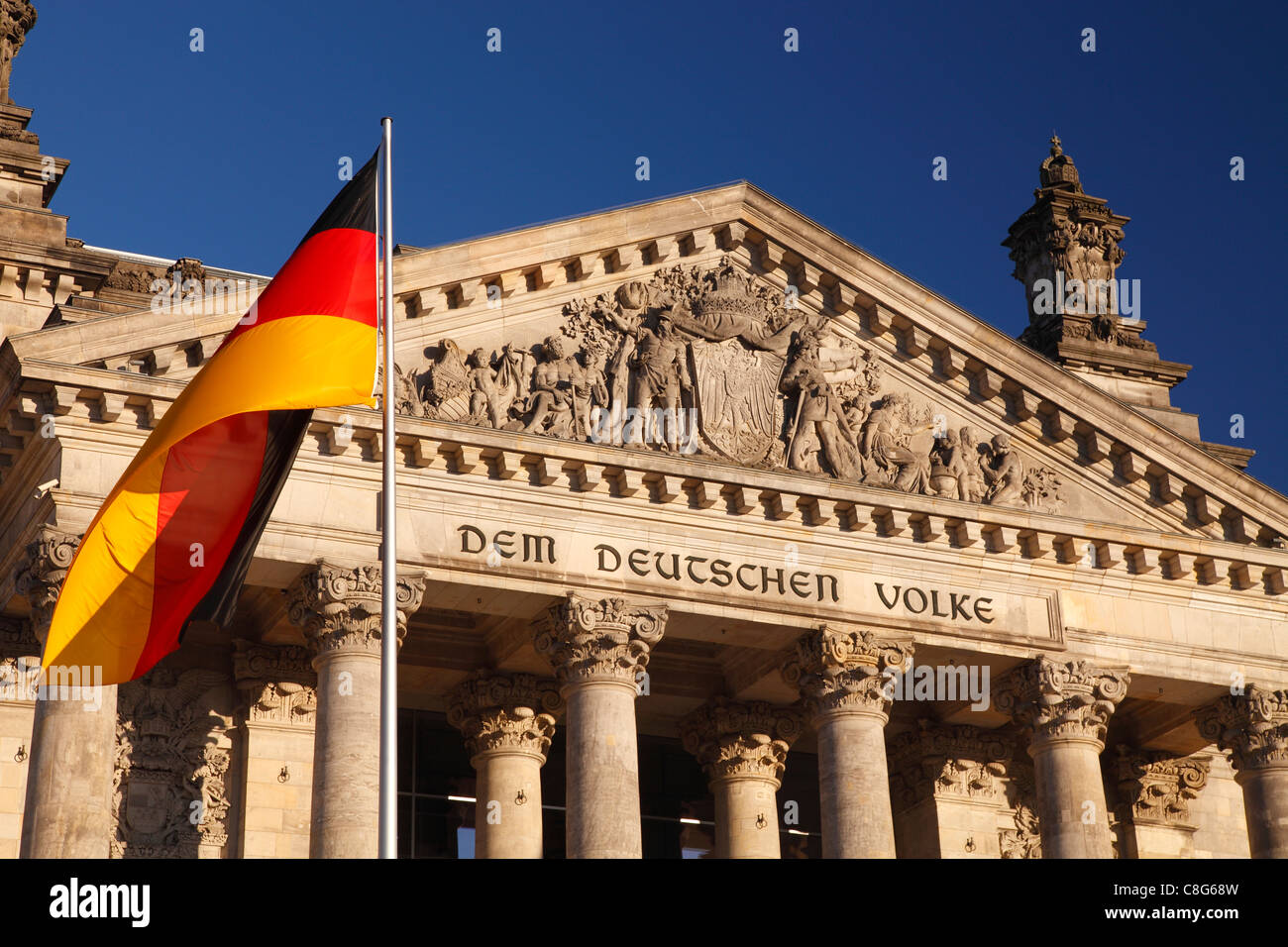 Reichstag and German flag - Stock Image