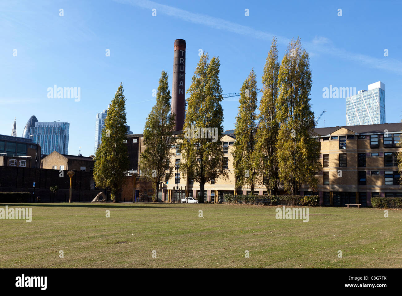 The Old Truman Brewery from Allen\'s Gardens, Buxton Street near ...