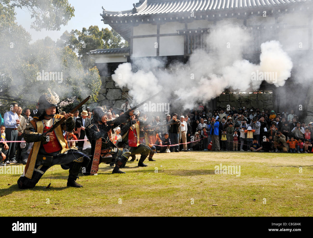 Festival reproducing how to fight ancient times of Japan - Stock Image