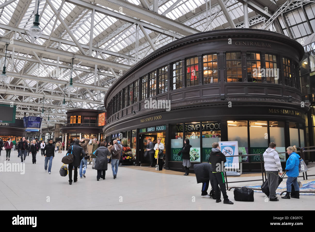 View of the Central Station including people, M&S and the Central Bar - Stock Image