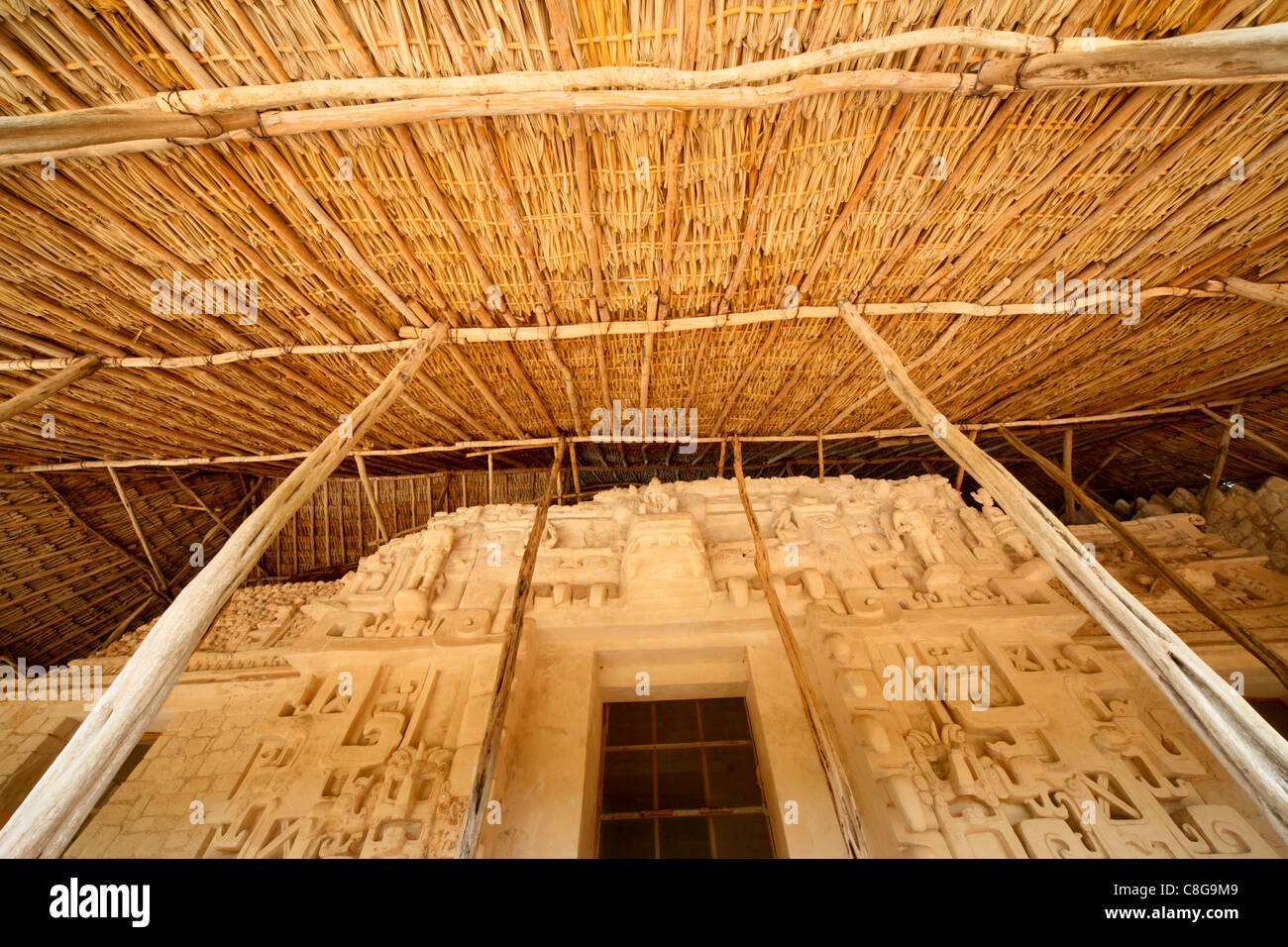 Preservation and recreation of the Tomb of Ukit Kan Le'K Tok, Ek Balam, Yucatan, Mexico - Stock Image