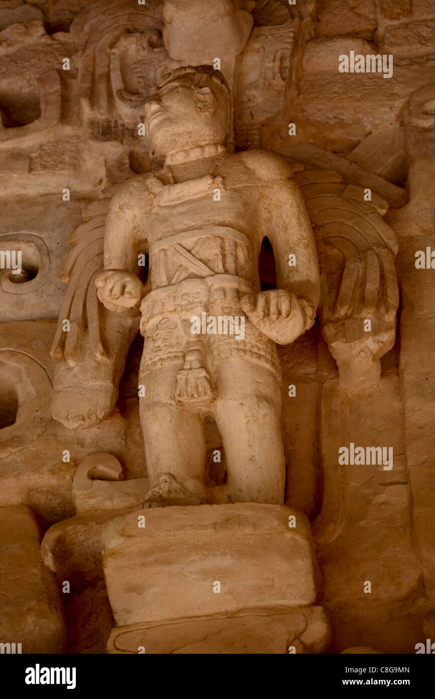 Ornate carvings on the exterior of the Tomb of Ukit Kan Le'k Tok, El Balam, Mexico - Stock Image