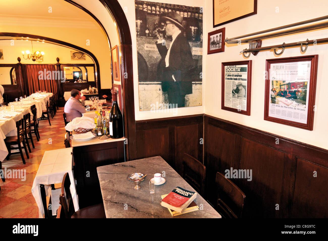 Portugal, Lisbon: Legendary favorite place of national poet Fernando Pessoa in the Coffeehouse Martinho da Arcada - Stock Image