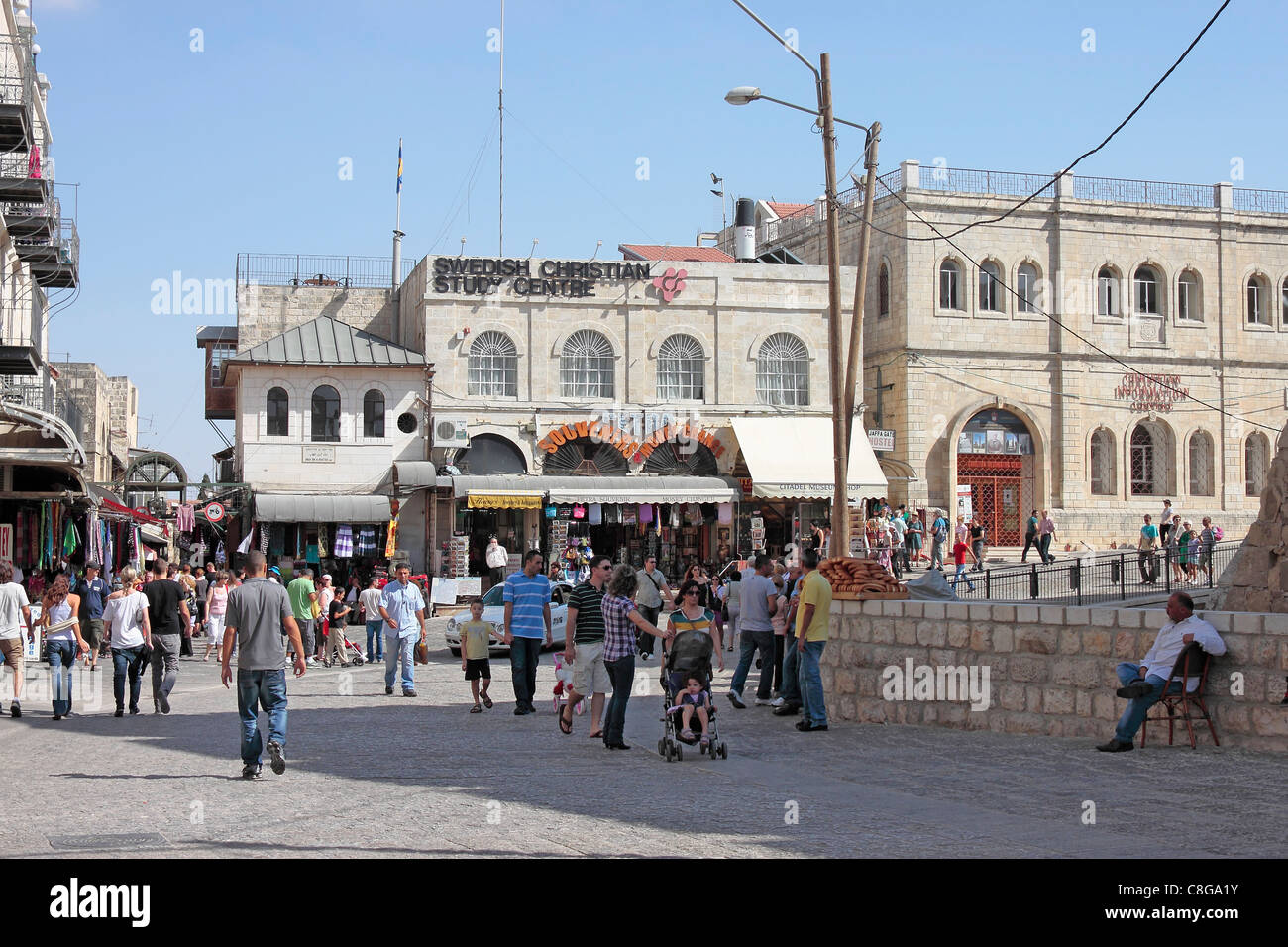 The Swedish Christian Study Centre and the Christian Information Centre just inside Jaffa Gate, Jerusalem - Stock Image