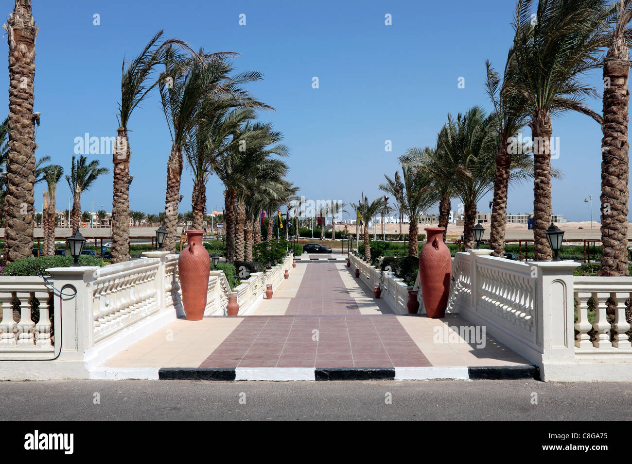 Tirana Sunrise Hotel Entrance Walkway - Stock Image