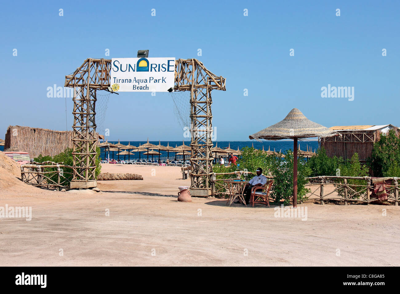 Entrance to Sunrise Tirana Hotel's beach on the Red Sea, Sharm El Sheikh, Egypt - Stock Image
