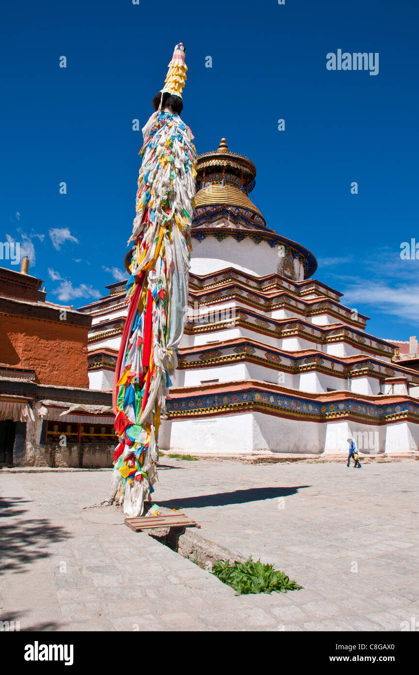 Magnificent tiered Kumbum, one hundred thousand images, Palcho Monastery, the largest chorten in Tibet, Gyantse, Stock Photo