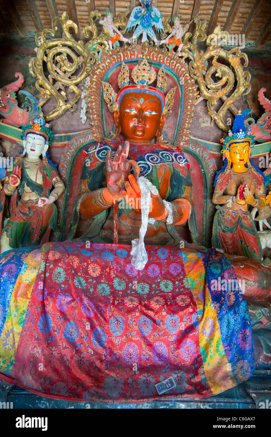 Buddha inside the Kumbum, literally one hundred thousand images, Palcho Monastery, Gyantse, Tibet, China - Stock Image