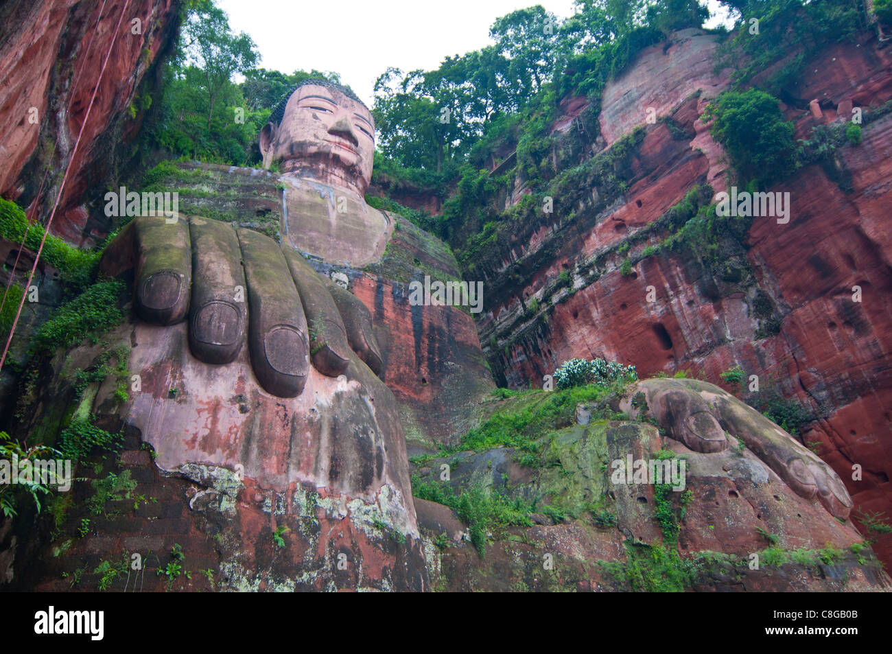 The giant Buddha of Leshan, UNESCO World Heritage Site, Sichuan, Tibet, China - Stock Image
