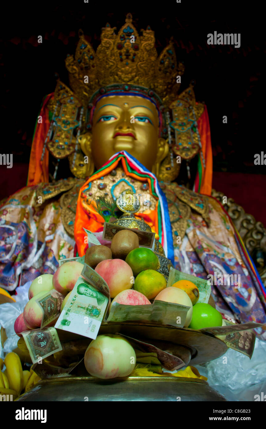 Buddha with sacrifical offerings in a little temple in Lhasa, Tibet, China - Stock Image