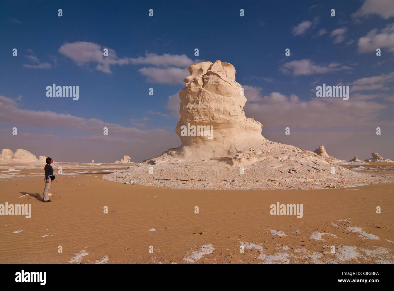 Tourist admiring unusual natural sculptures caused by wind erosion, White Desert near Bahariya, Egypt, North Africa - Stock Image