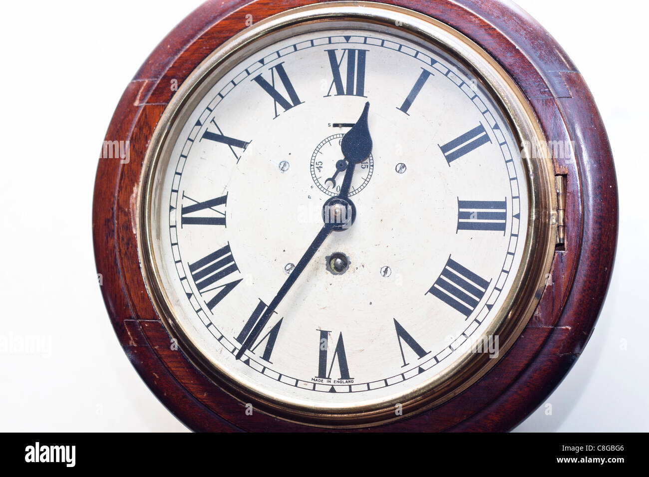 Detail of antique clock face. Made in England. - Stock Image