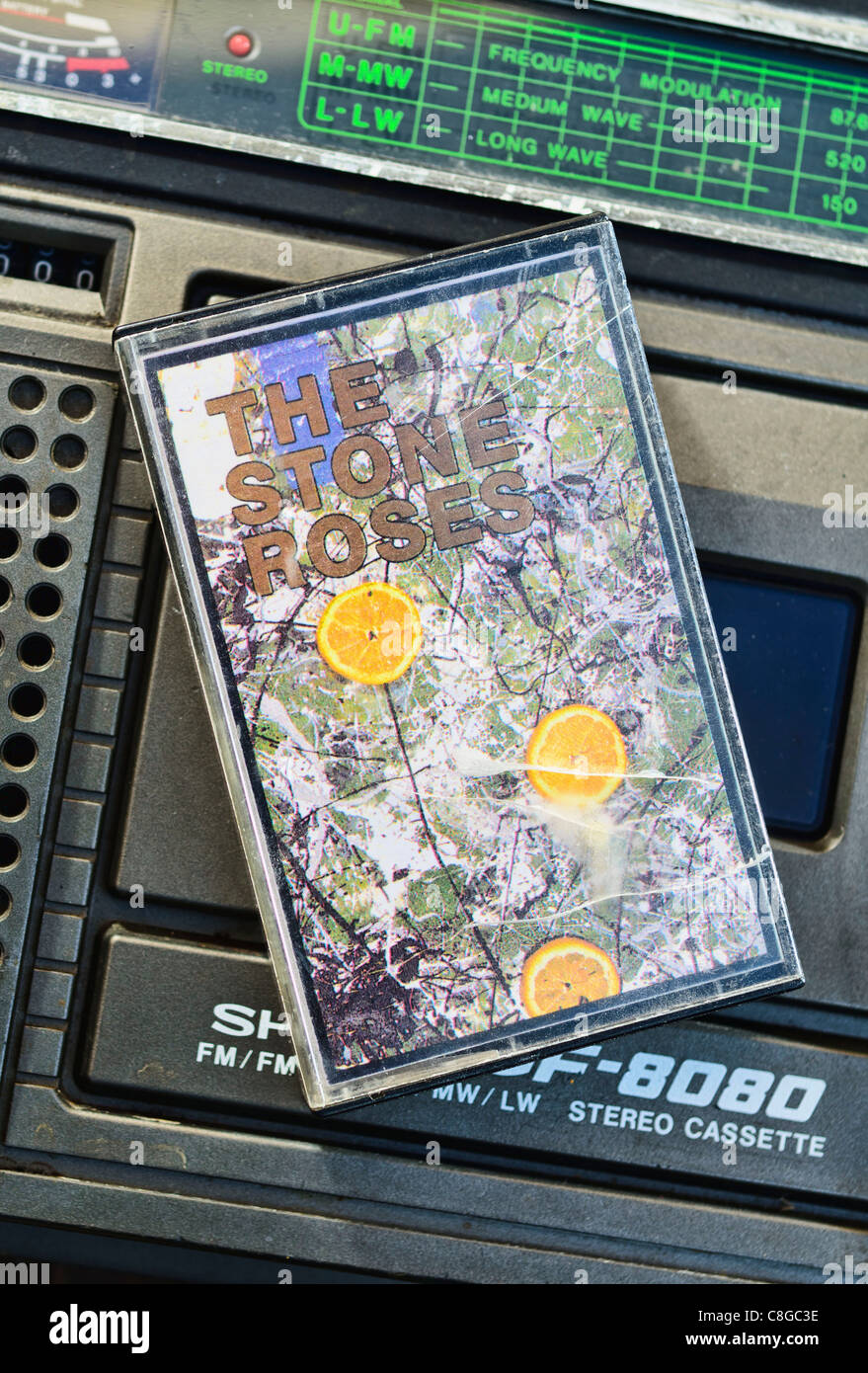 The Stone Roses debut album 'The Stone Roses' on Audio Cassette, released March 1989 on Silvertone Record. Stock Photo