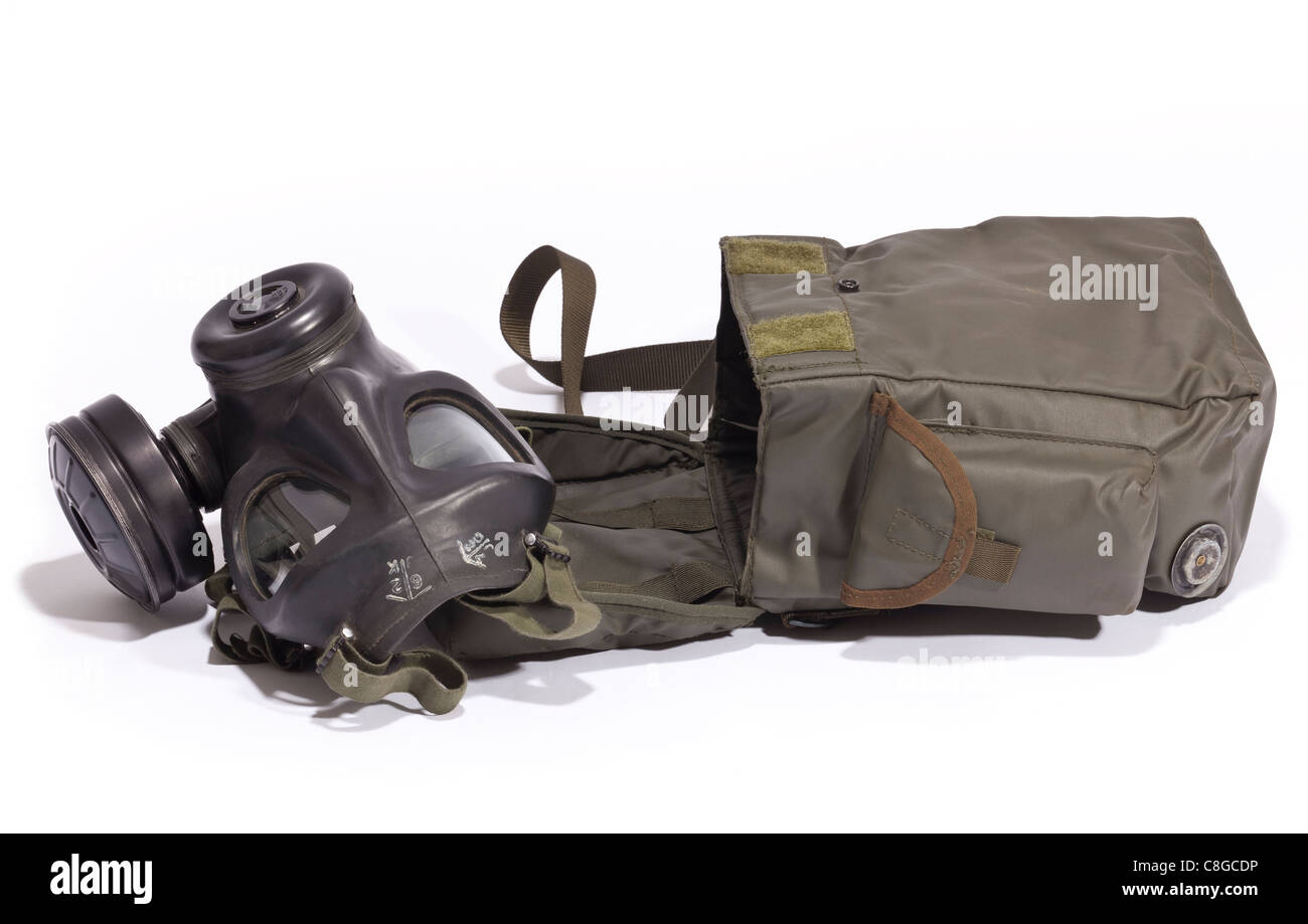 A British Military respirator from the 1960's with it's holdall - Stock Image