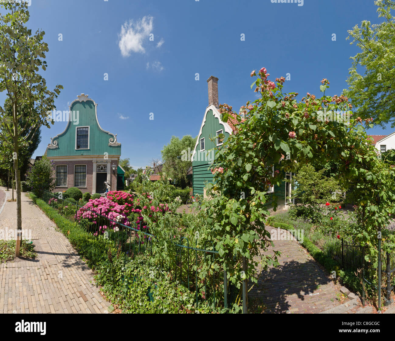 Netherlands, Europe, Holland, Zaandijk, Wooden houses with garden, city, village, flowers, summer, garden, - Stock Image
