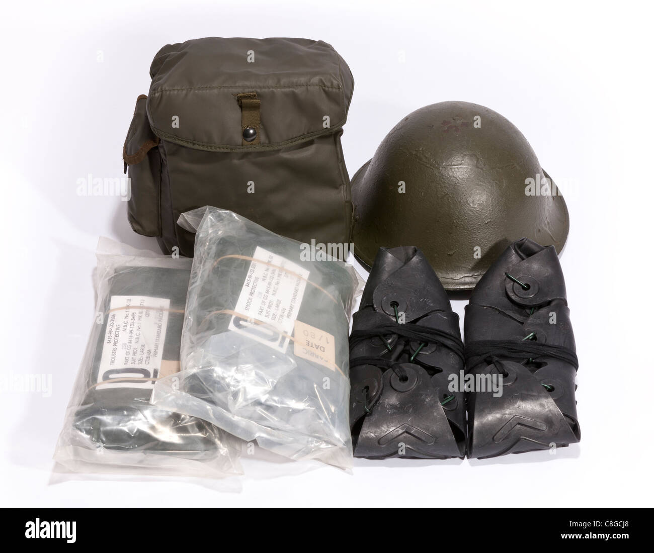 A British Military NBC kit from the 1980's - Stock Image