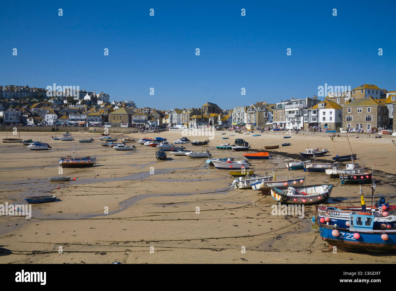 St Ives Cornwall England UK view across harbour of this busy Cornish seaside resort low tide - Stock Image
