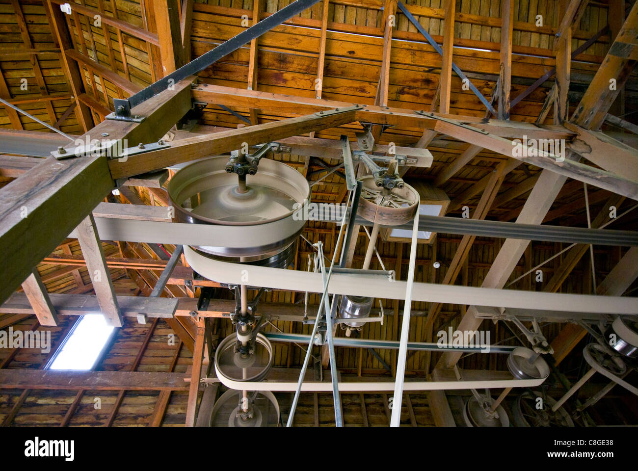 Large belts on pulleys on a wheelwright's plant throating machine. - Stock Image