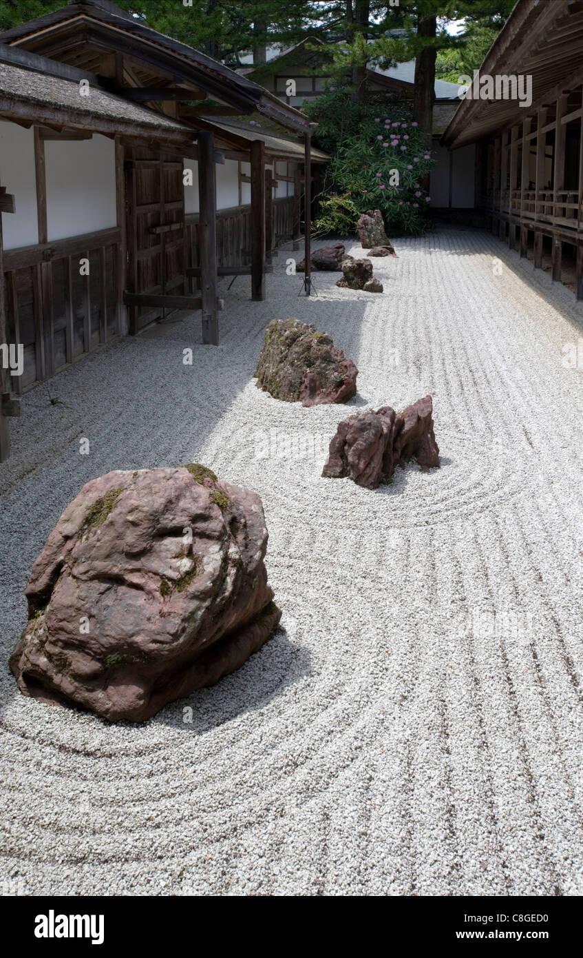 Narrow Rock Garden At Kongobuji Temple, The Shingon Buddhist Sect  Headquarters, On Mount Koya, Wakayama, Japan