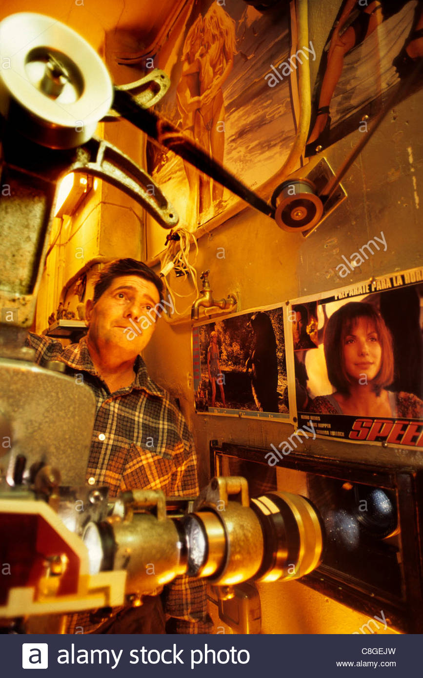 The projector room at the Cine Alhambra in La Garriga. - Stock Image