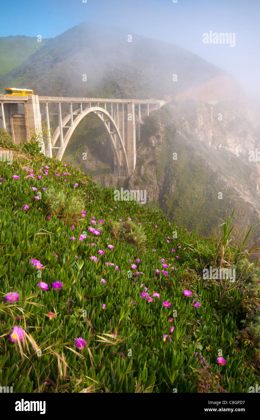 Bixby Bridge, Highway 1, California, United States of America - Stock Image