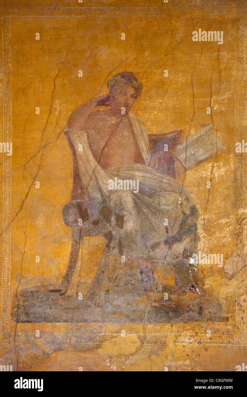 Fresco of the poet Menander, House of the Menander, Pompeii, UNESCO World Heritage Site, Campania, Italy - Stock Image
