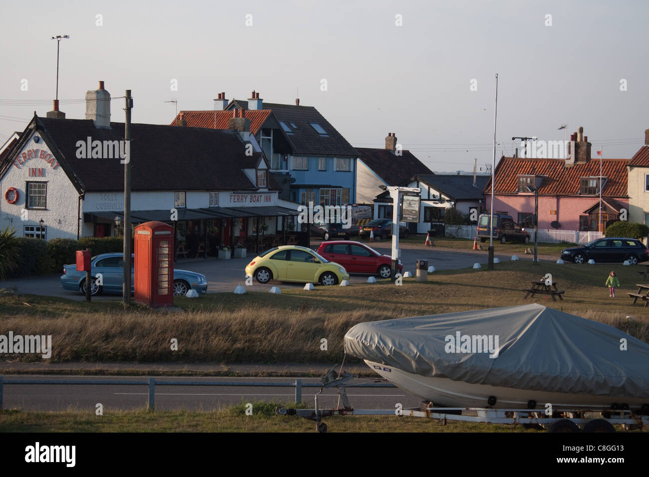 The Ferry Boat Inn at Felixstowe Ferry, Suffolk - Stock Image