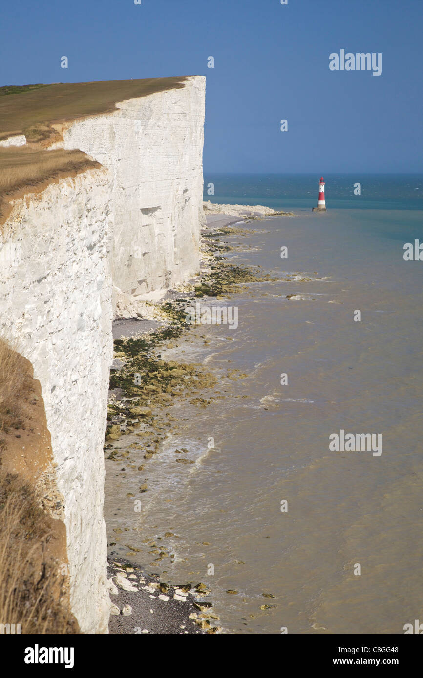 Lighthouse and cliffs at Beachy Head, East Sussex, England, United Kingdom - Stock Image