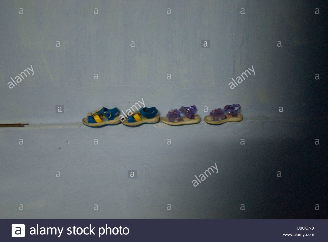 Sandals in a row. - Stock Image
