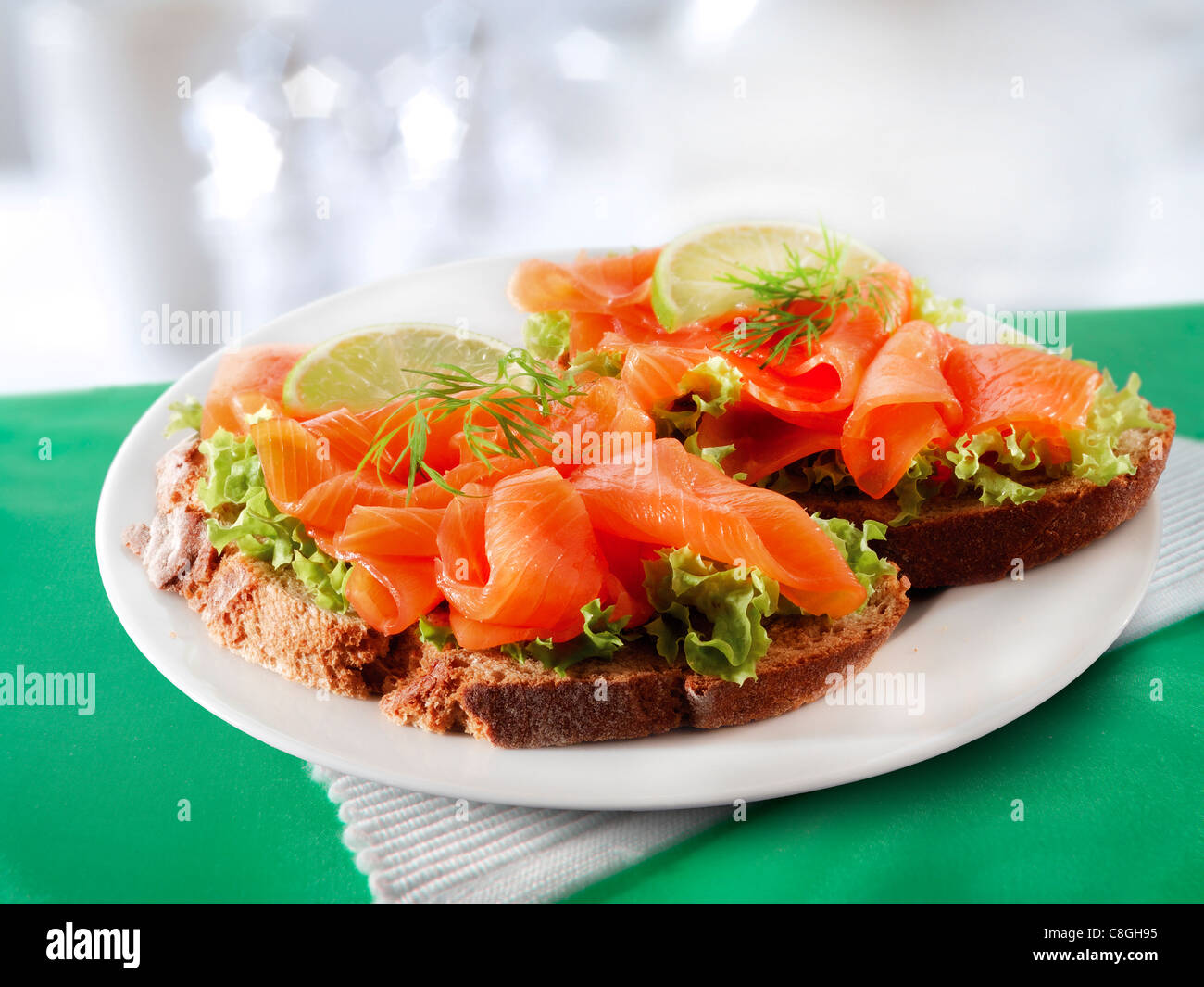 Smoked Salmon & salad Sandwich - Stock Image