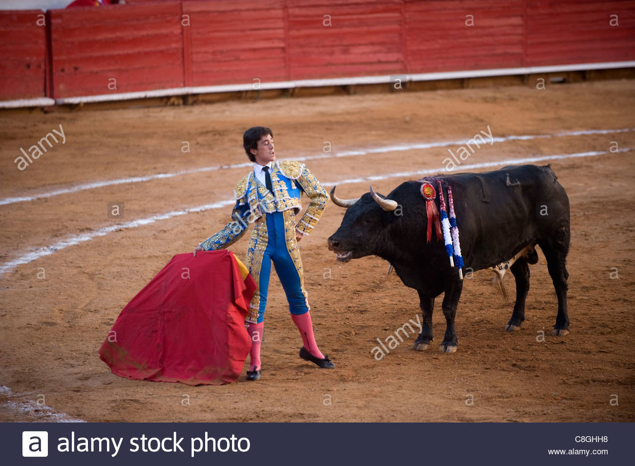 At a bullfight in Mexico City, a Matador demonstrates his courage. - Stock Image