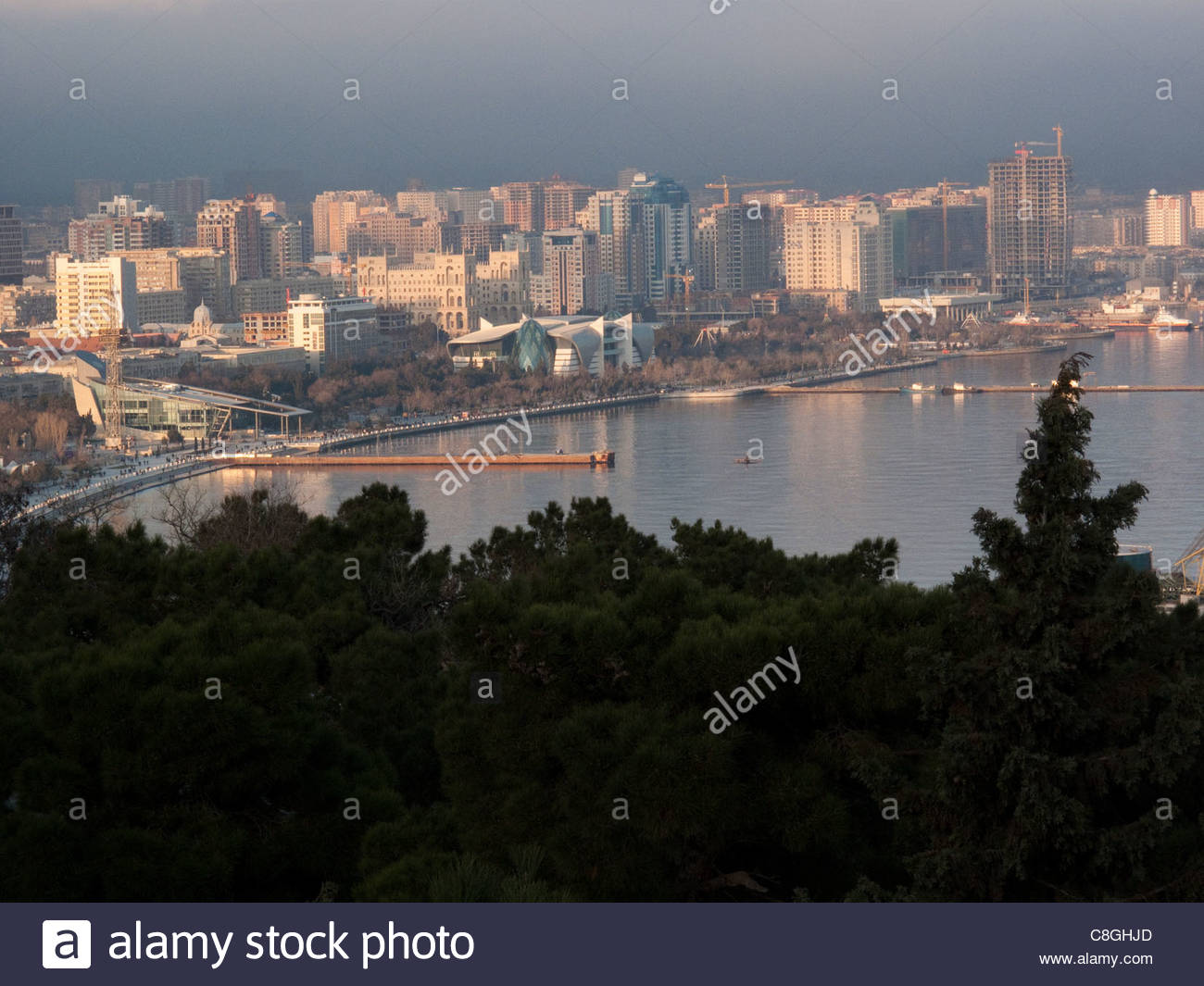 View of Baku, Azerbaijan, and Baku Bay from near Martyrs' Lane. Stock Photo