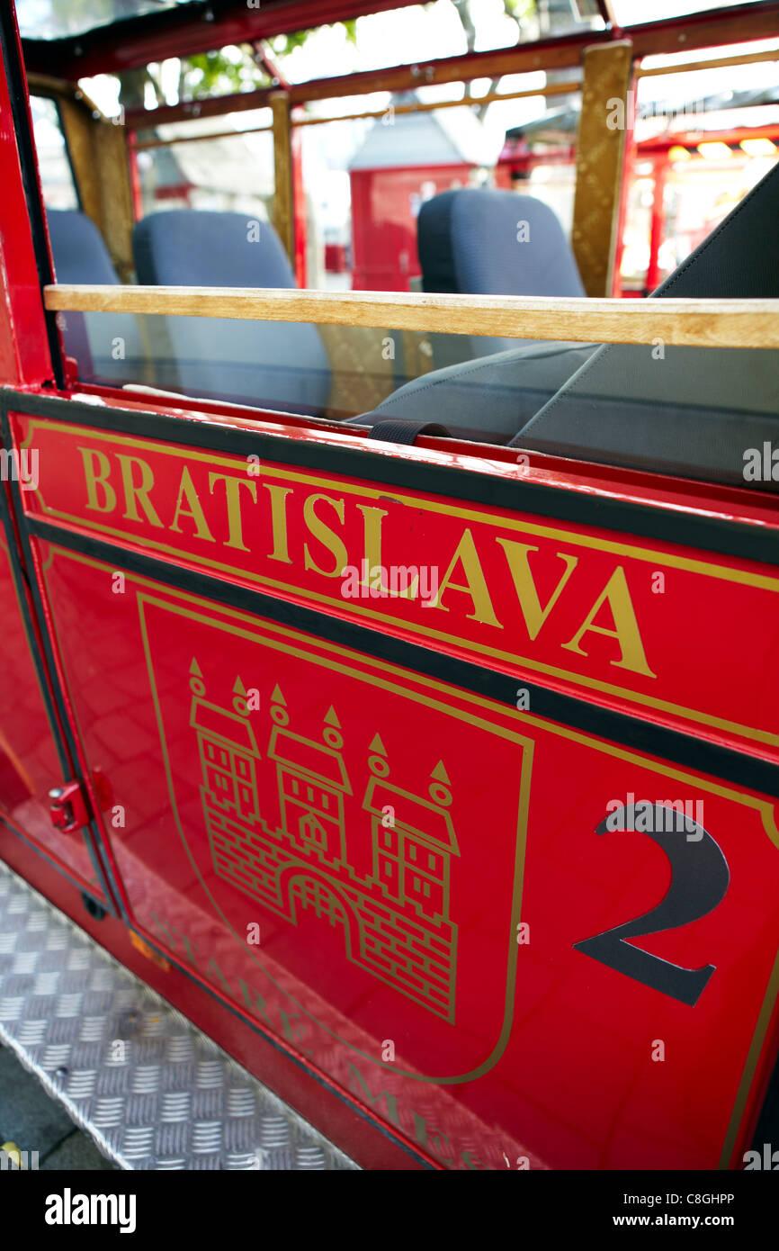 red tour bus, Bratislava, Slovakia - Stock Image