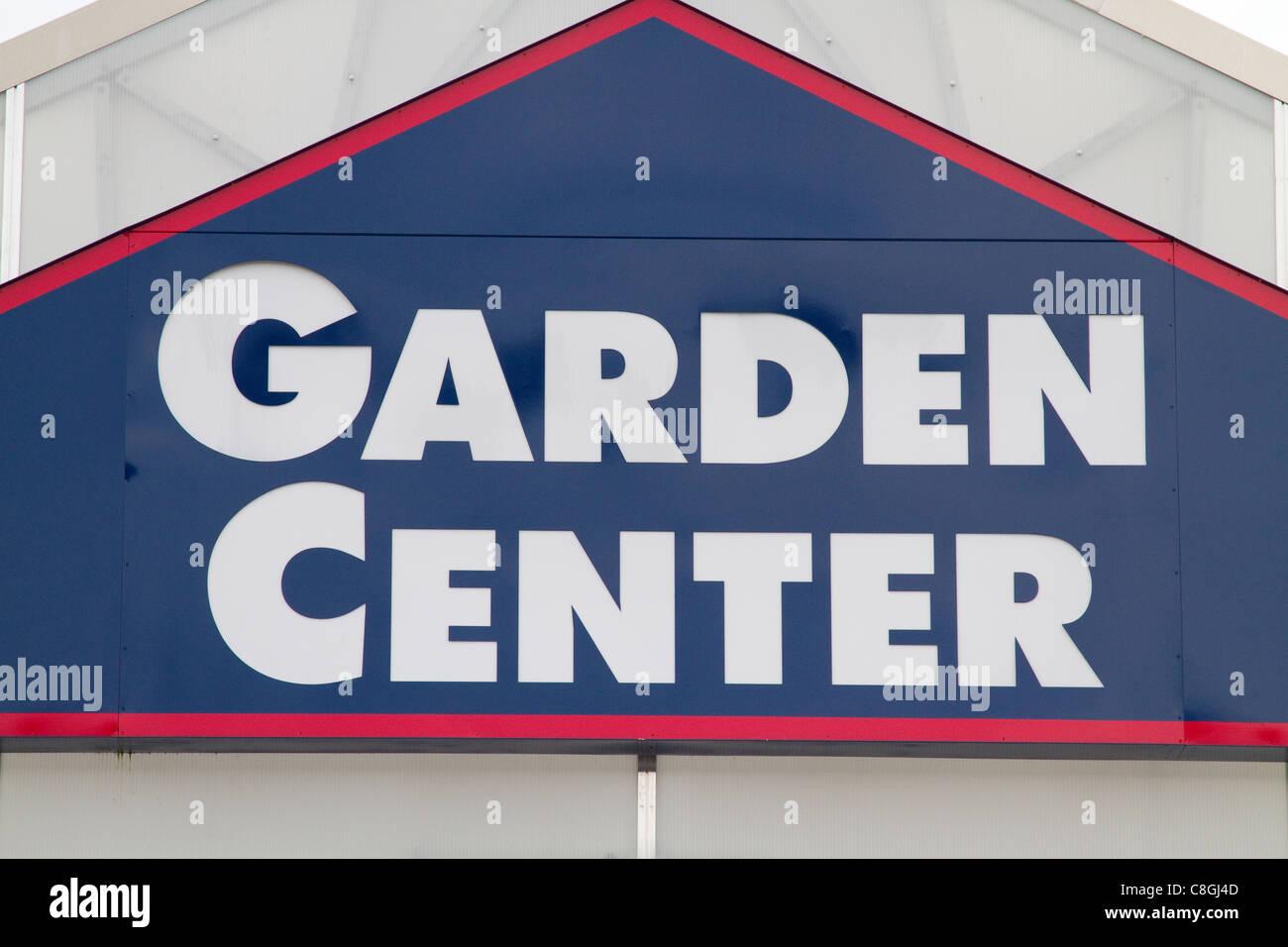 Garden centre, center, sign. - Stock Image