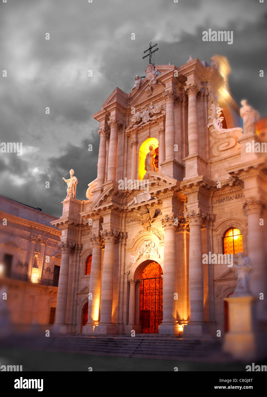 The Baroque Duomo (cathedral) , Syracuse ( Siracusa) , Sicily - Stock Image