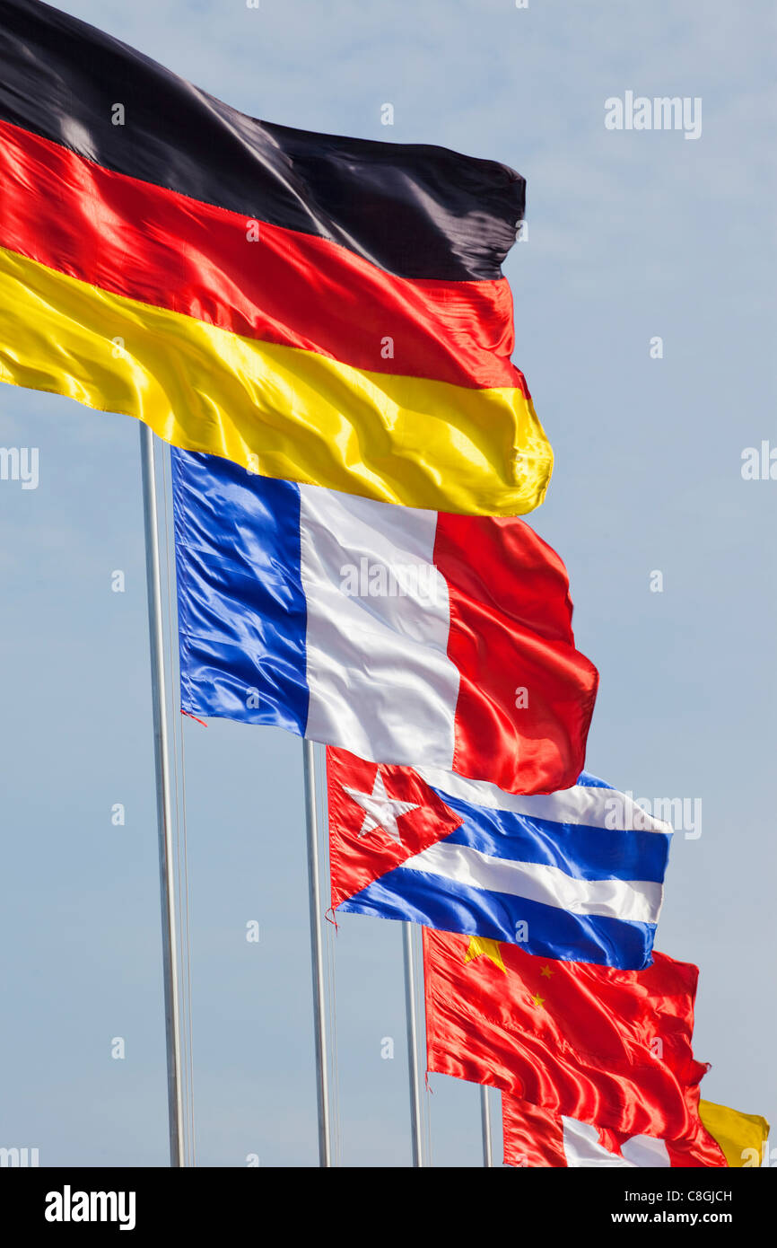 Flag, Flags, German Flag, French Flag, Chinese Flag - Stock Image