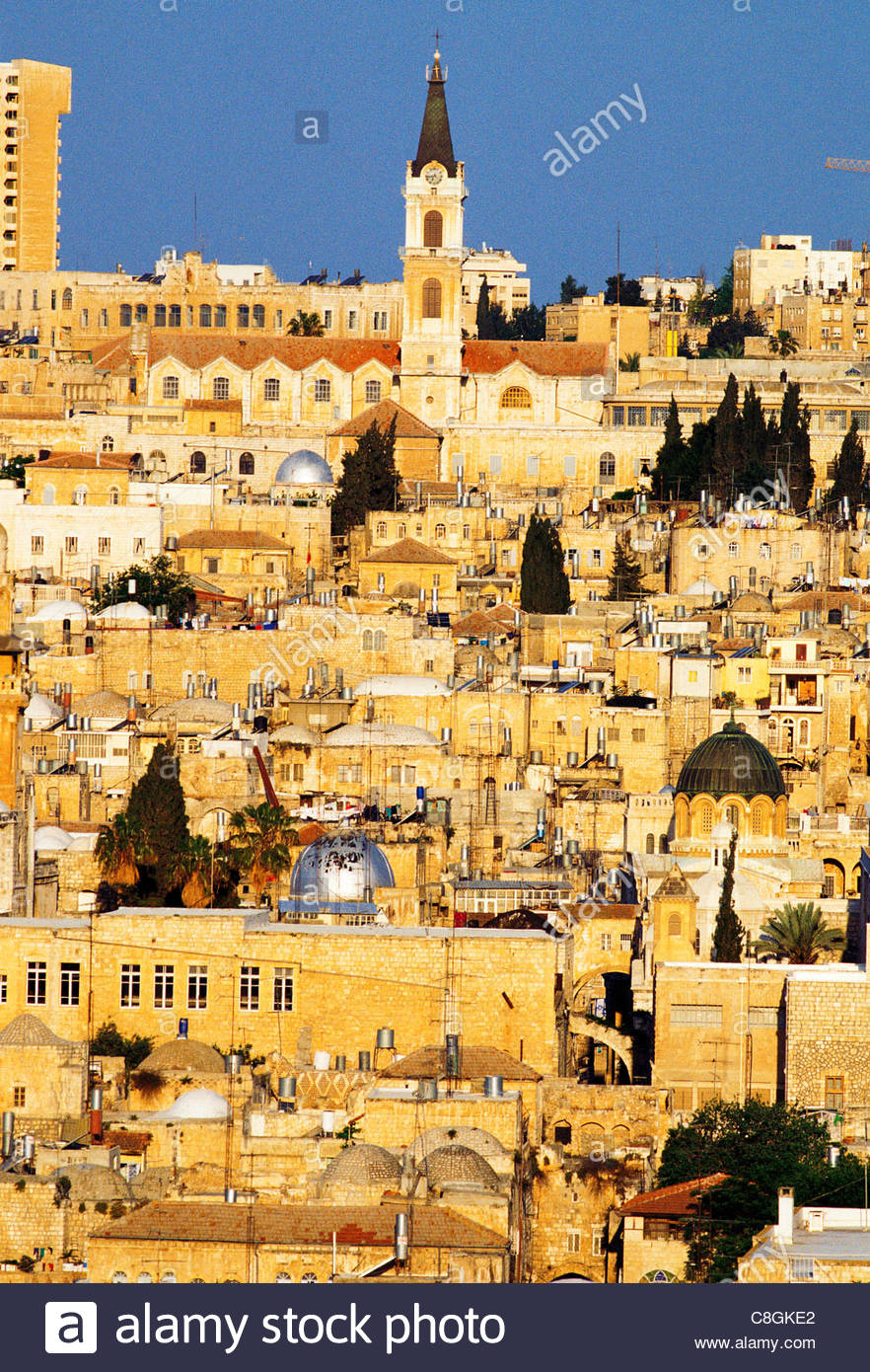 An overview of Jerusalem with mosques, churches and houses. - Stock Image