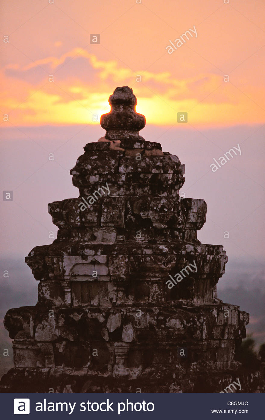 The Borobudur Buddhist monument dates to 9th century in Central Java. - Stock Image