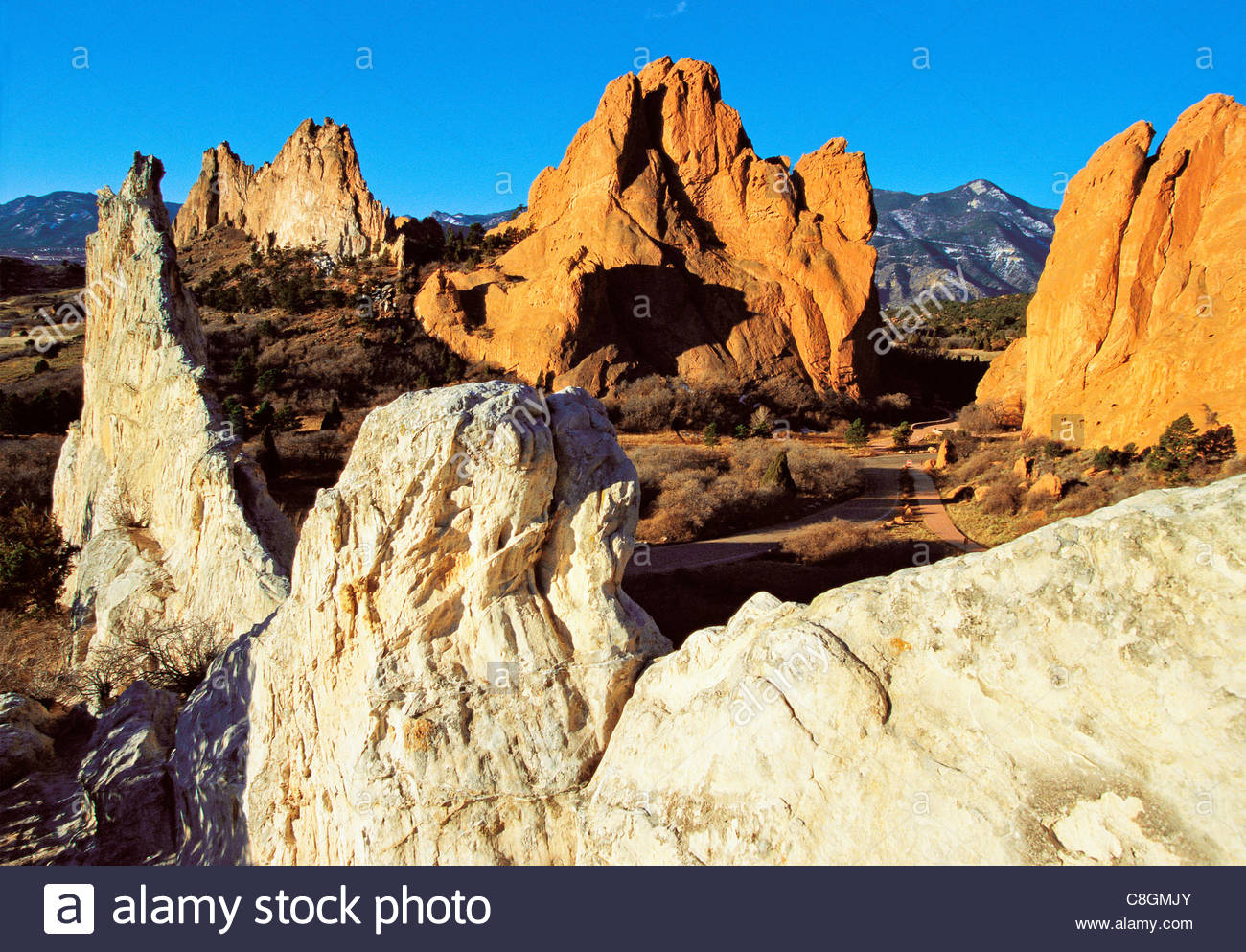 The Garden of the Gods Park on the front range of the Rocky Mountains. - Stock Image