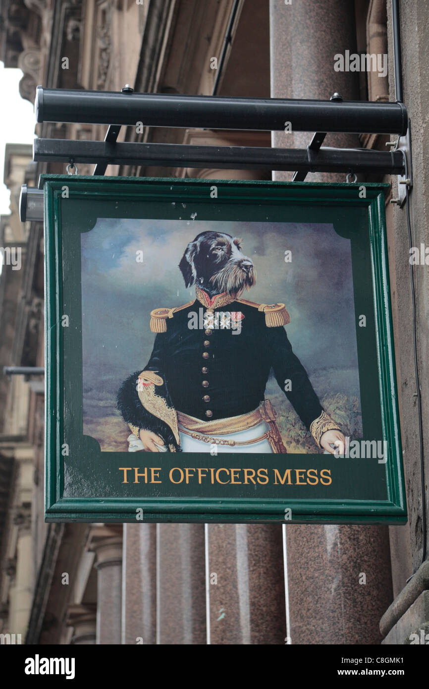 Sign above the entrance to the Officers Mess Ale House (public house or pub) on Victoria Street, Liverpool town - Stock Image