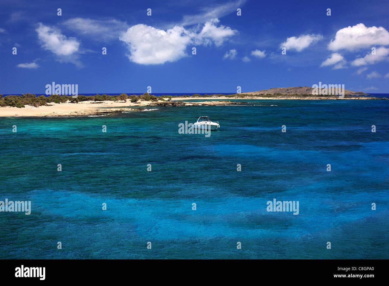 The south coast of Chrissi  island, a small exotic island, a tiny paradise, 8 miles south of  Ierapetra, Lasithi, Stock Photo