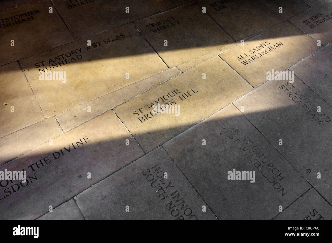 The names of London diocese set into the floor of Southwark Cathedral - Stock Image