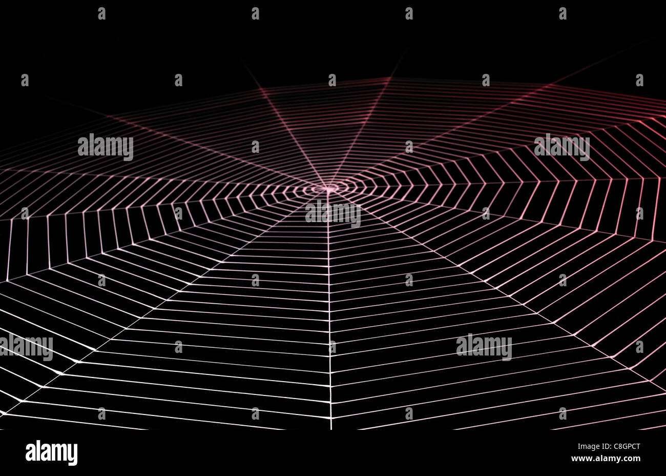 detail of a painted spiral spiderweb in dark back, red illuminated - Stock Image