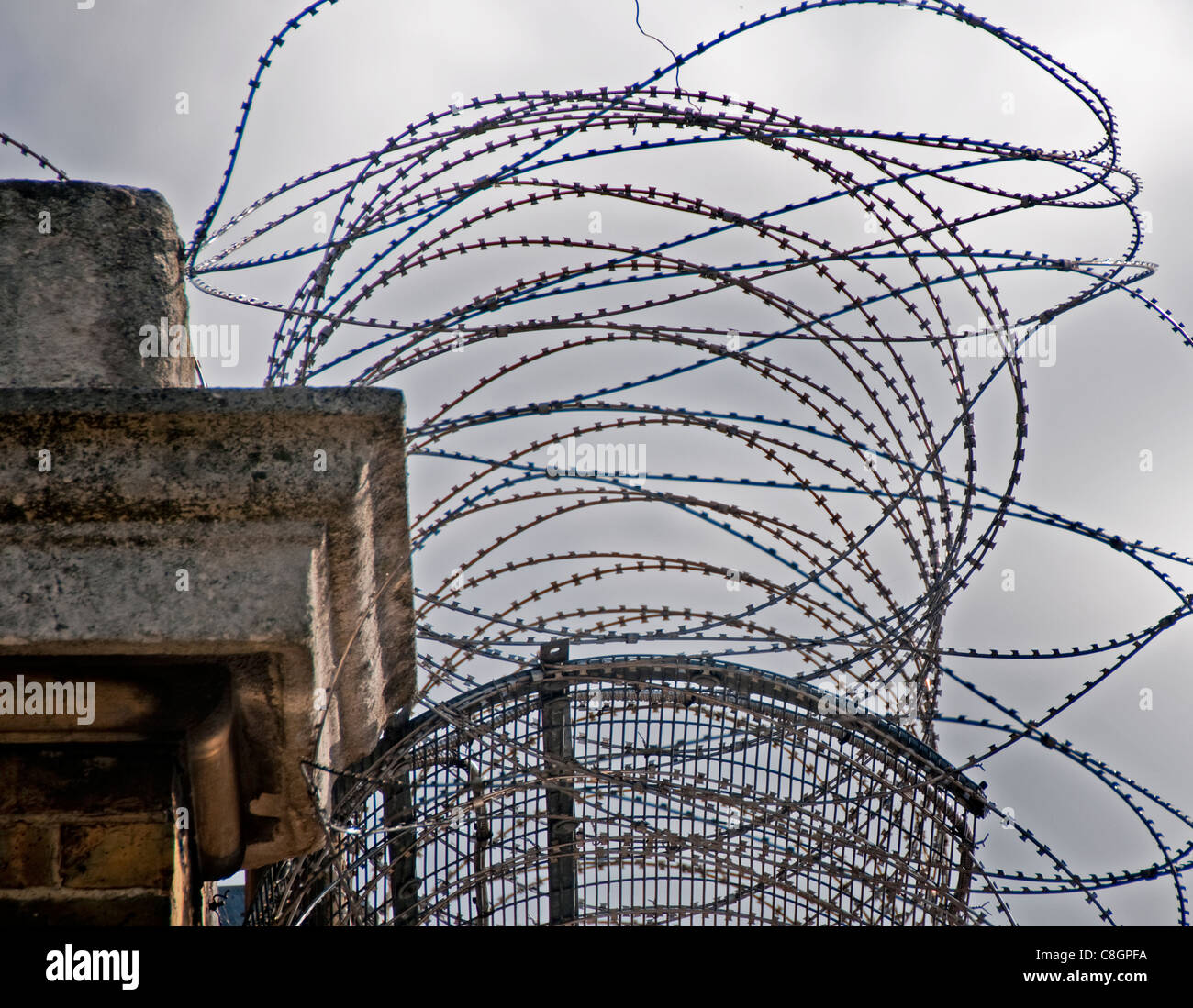 Razor Wire Security Fencing In Stock Photos & Razor Wire Security ...
