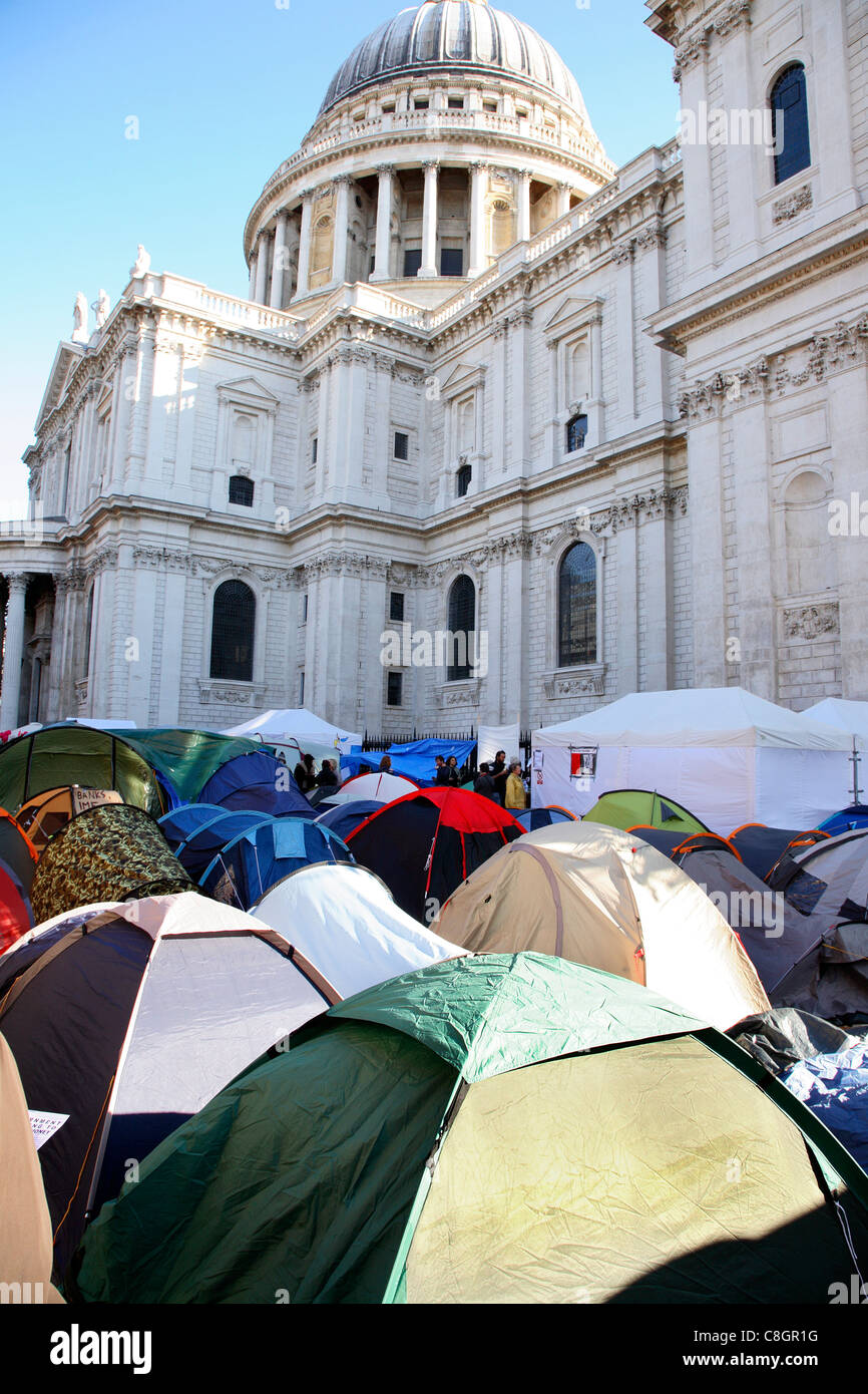 Anti capitalist demonstration at St Paul's 22/10/2011. - Stock Image