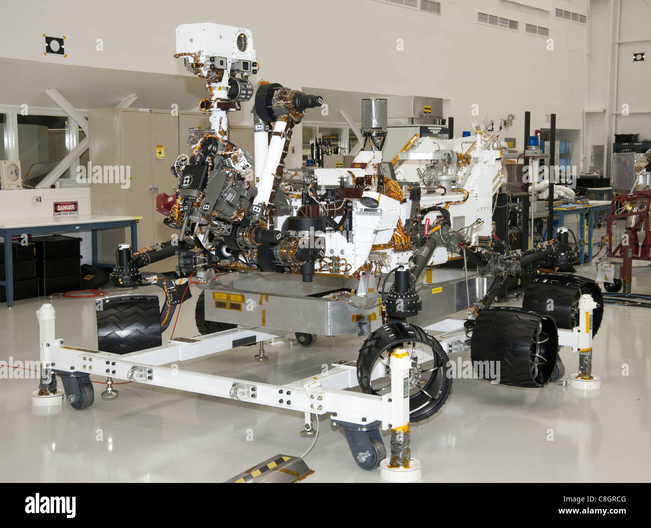 NASA Mars Rover Curiosity at JPL, View from Front Left Corner - Stock Image