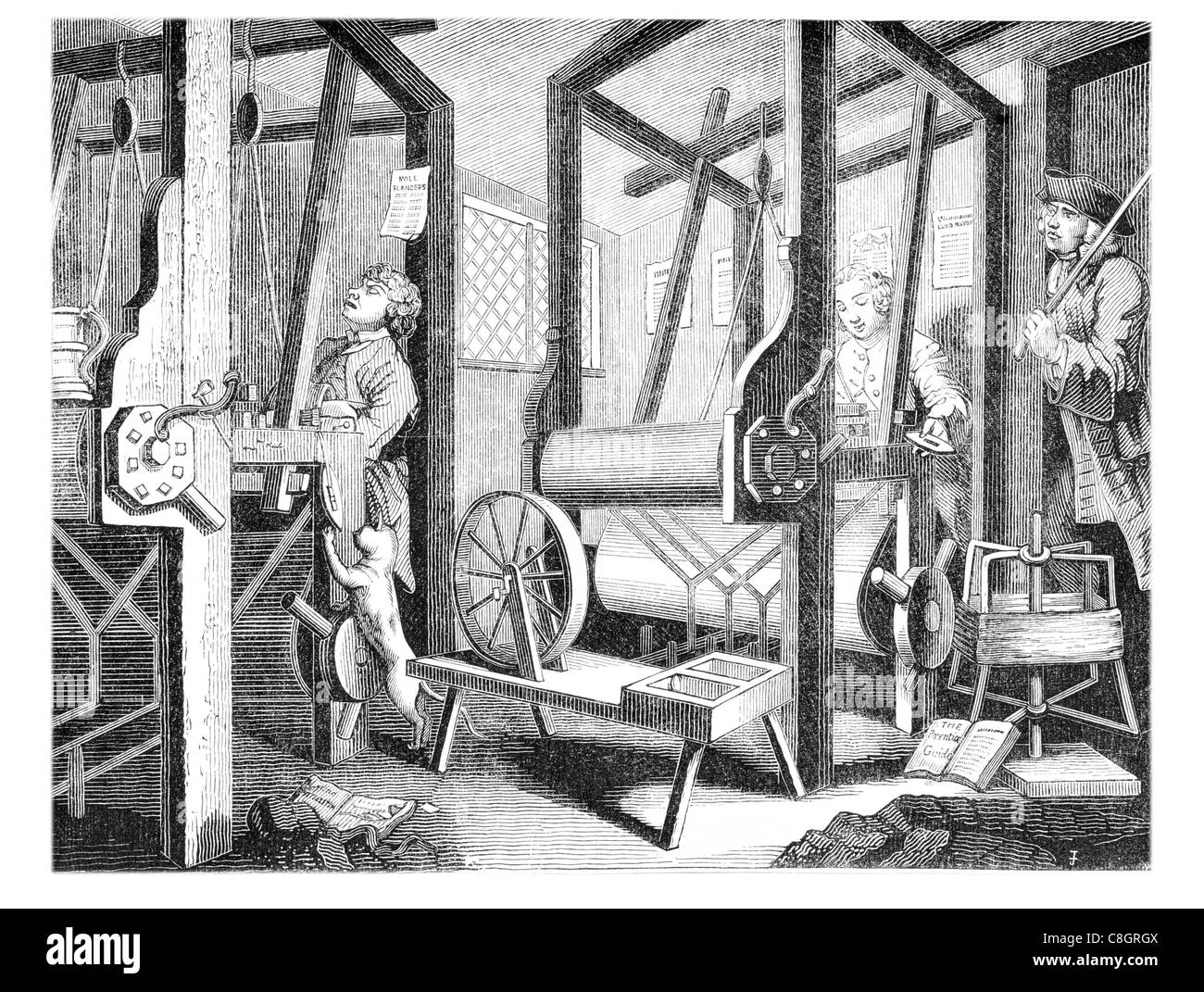 clothiers looms loom 18th century shuttle reed heddles war beam cottage industry clothier dog pet workshop - Stock Image